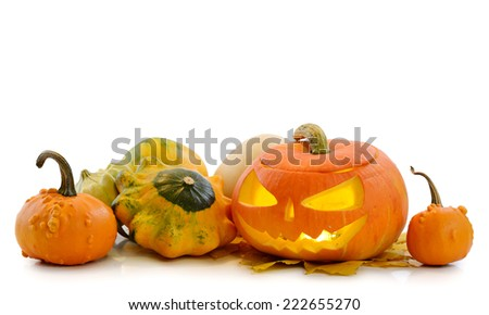 Halloween pumpkin Jack O'Lantern isolated on white - stock photo