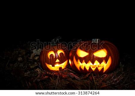 Halloween pumpkin lantern , Jack-o'-lantern - stock photo