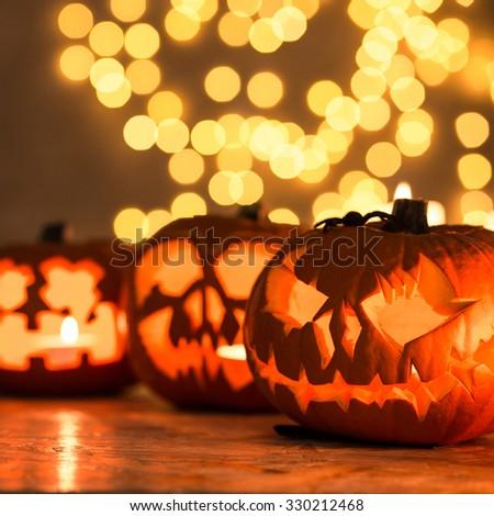 Halloween pumpkin lanterns - perfect decoration for Halloween - stock photo