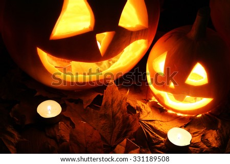 Halloween pumpkin leaves fall - stock photo
