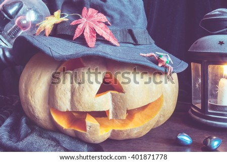 Halloween pumpkin muzzle face scarecrow - stock photo