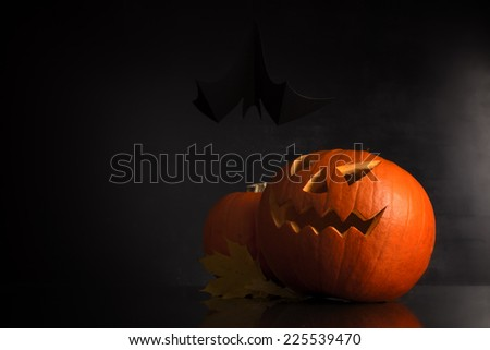 halloween pumpkin on a dark background - stock photo