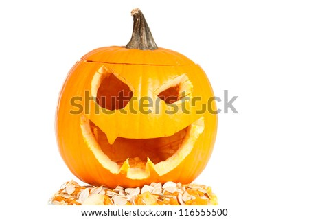 Halloween pumpkin on a white background. - stock photo