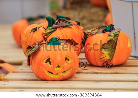 Halloween pumpkin on background, can be used as background - stock photo