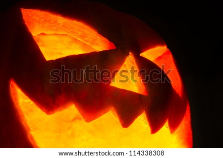Halloween pumpkin on dark background - stock photo