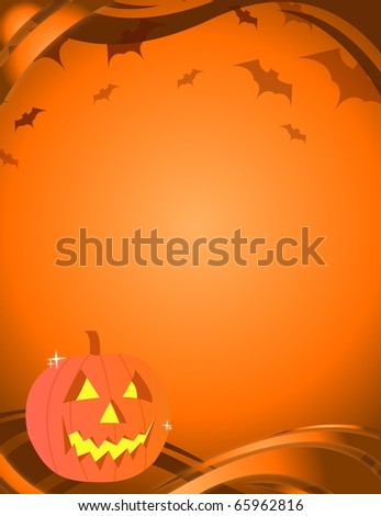 Halloween pumpkin over an yellow and orange background with vampires. / Halloween Card - stock photo