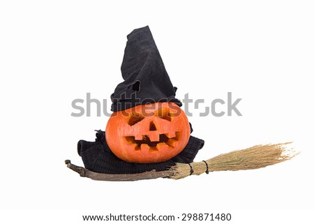 Halloween Pumpkin. Pumpkin cute isolated on white. - stock photo