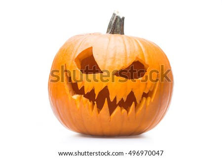 Halloween pumpkin's grin on white isolated background