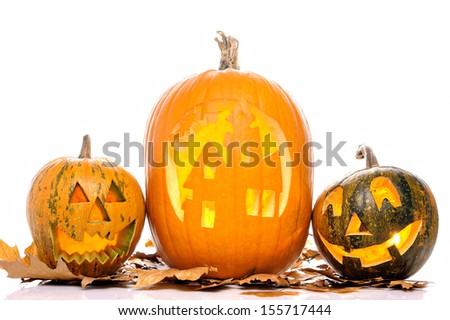 Halloween Pumpkin.Scary Jack O'Lantern isolated on white - stock photo