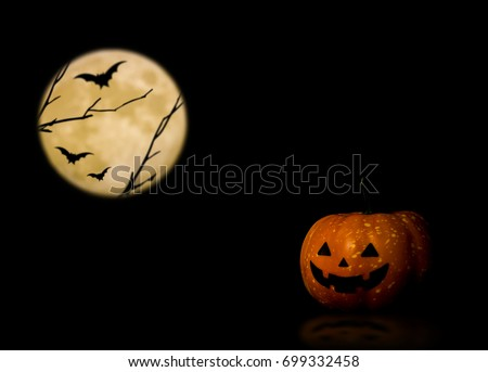 Halloween pumpkin, trick or treat with full moon