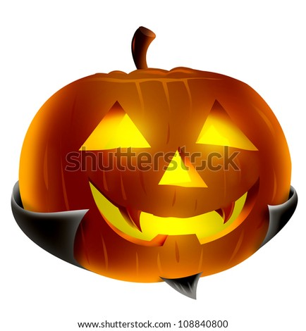 Halloween Pumpkin  Vampire Concept illustration with Glowing Eyes.Isolated in white background.