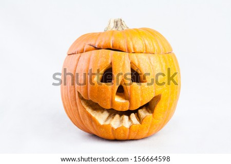 Halloween pumpkin. White background.
