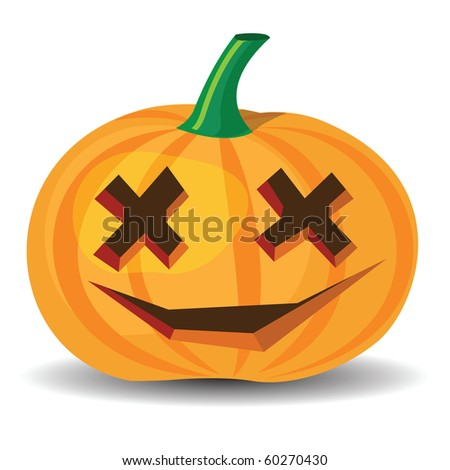 halloween pumpkin with confused grinning, vector format.