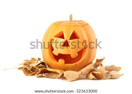 Halloween pumpkin with dry leafs isolated on a white - stock photo