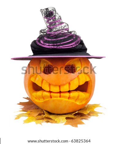Halloween pumpkin with hat and leaf isolated on white