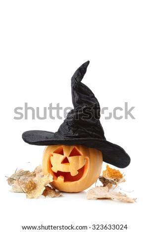 Halloween pumpkin with hat isolated on a white - stock photo