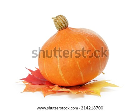 halloween pumpkin with leaves, isolated on white - stock photo