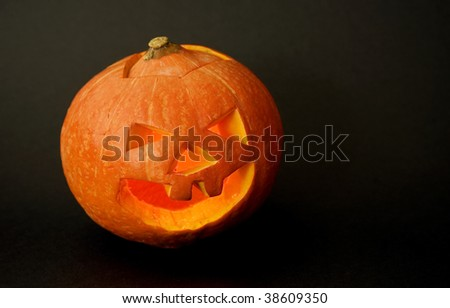 Halloween pumpkin with scary face