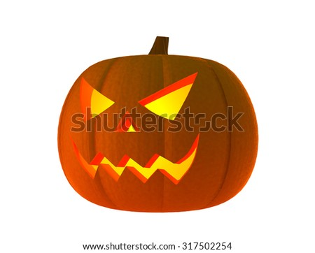 Halloween pumpkin with scary face (3D Render)