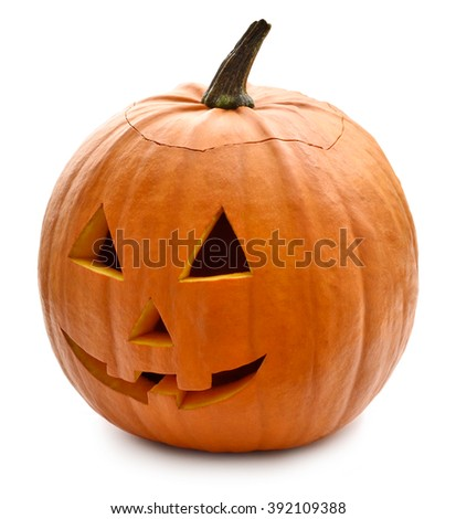 Halloween pumpkin with scary face. Jack O' Lantern isolated on white.  - stock photo