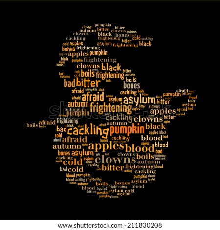 Halloween pumpkin word cloud, isolated on black
