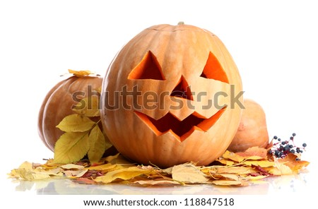 halloween pumpkins and autumn leaves, isolated on white - stock photo