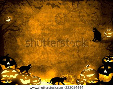 Halloween pumpkins and black cats - brown sepia texture background illustration  - stock photo
