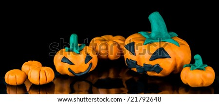 Halloween pumpkins for Halloween days festival create from color clay.