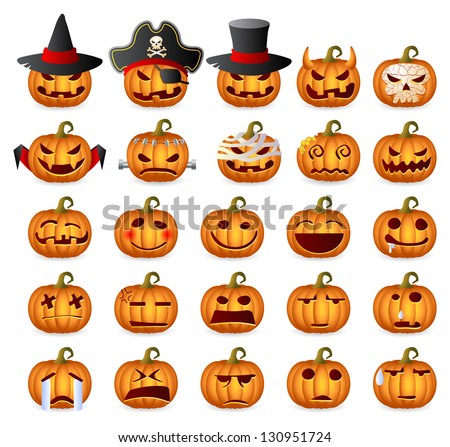 Halloween Pumpkins. Horror Persons. Emotion Variation. Raster Icon Set. Raster version, vector file also included in the portfolio. - stock photo