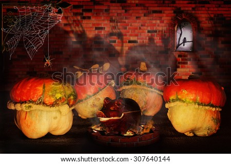 Halloween pumpkins in the castle. On the brick wall shade of forks. On the night of Halloween can all be swapped.