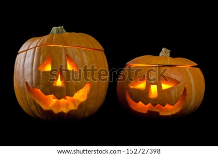 Halloween Pumpkins. isolated. black background. - stock photo