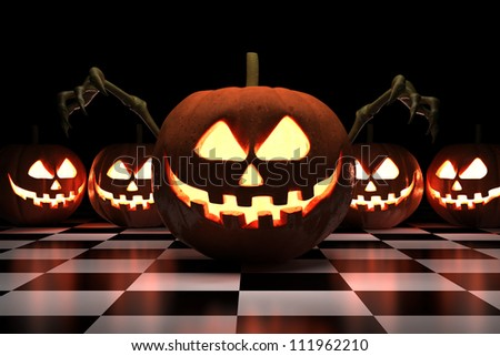Halloween Pumpkins - Isolated on Dark Background - stock photo