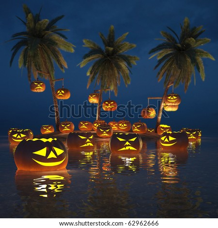 Halloween pumpkins on a deserted tropical island. 3d image. - stock photo