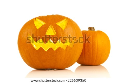 halloween pumpkins on a white background  - stock photo