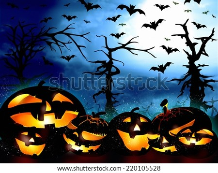 halloween pumpkins on the forest background and the sky full of bats - stock photo