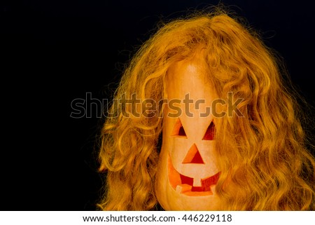 Halloween pumpkins , scary face , background. - stock photo
