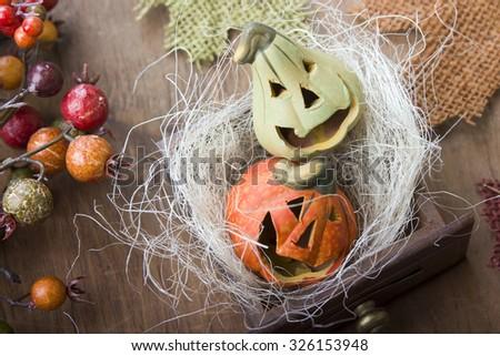 Halloween pumpkins, still life - stock photo