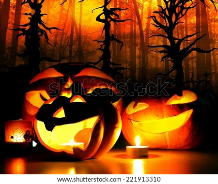 halloween pumpkins with candle flames illustration - stock photo