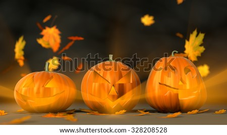 Halloween pumpkins with flying leafs, three different poses (3D illustration)