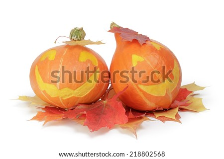 halloween pumpkins with funny face, isolated on white - stock photo