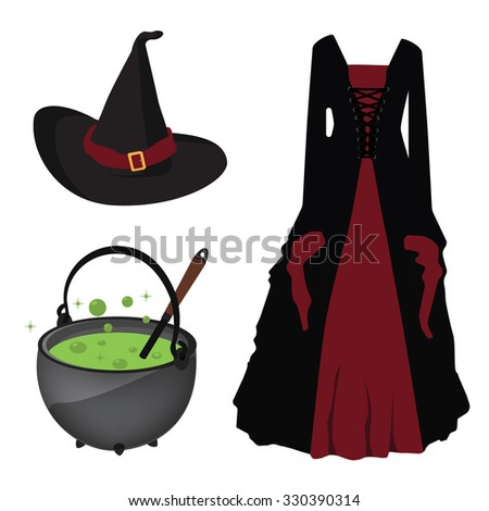 Halloween raster icon set witch hat and corset dress, boiling kettle with green poison - stock photo