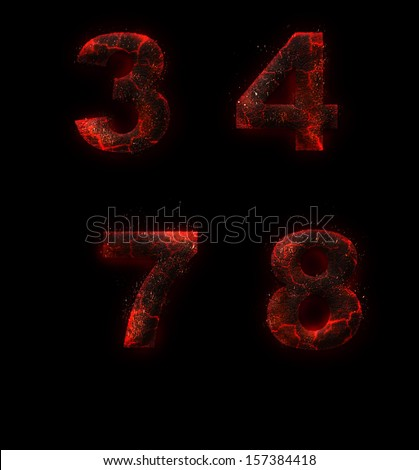 Halloween red burning fire fonts isolated on dark background - stock photo