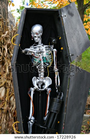 Halloween Robot Skeleton in a Coffin Decoration