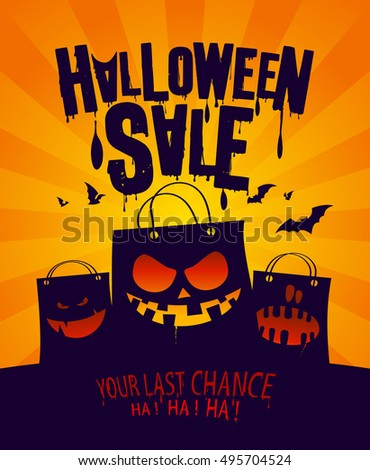 Halloween sale banner with scary shopping bags, rasterized version