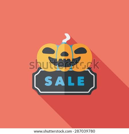 Halloween SALE flat icon with long shadow - stock photo