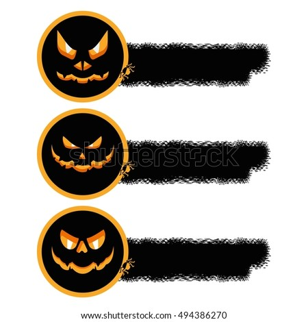 halloween sale sticker with pumpkin. Halloween icon. Design elements for advertising and promotion. Flat cartoon illustration. Objects isolated on white background.