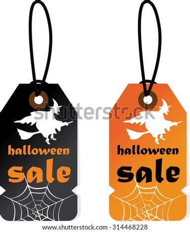 Halloween sale tag, badges and labels in vintage style on black and orange tags. - stock photo