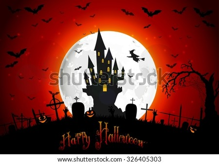 Halloween scary house on full moon background