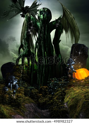 Halloween scene with winged monster, mushrooms and pumpkin.3D illustration.