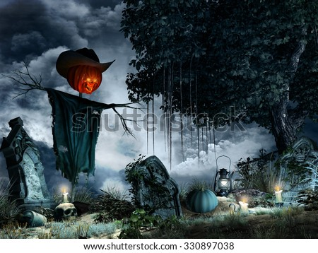 Halloween scenery with tombstones,candles and scarecrow - stock photo